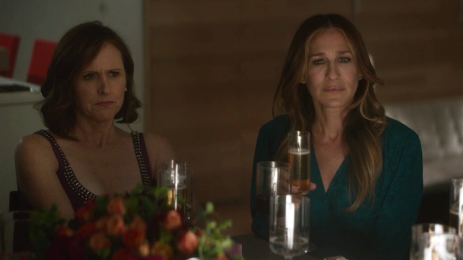 Not seeing the funny side: Molly Shannon and Sarah Jessica Parker in Divorce (pic Sky/HBO)