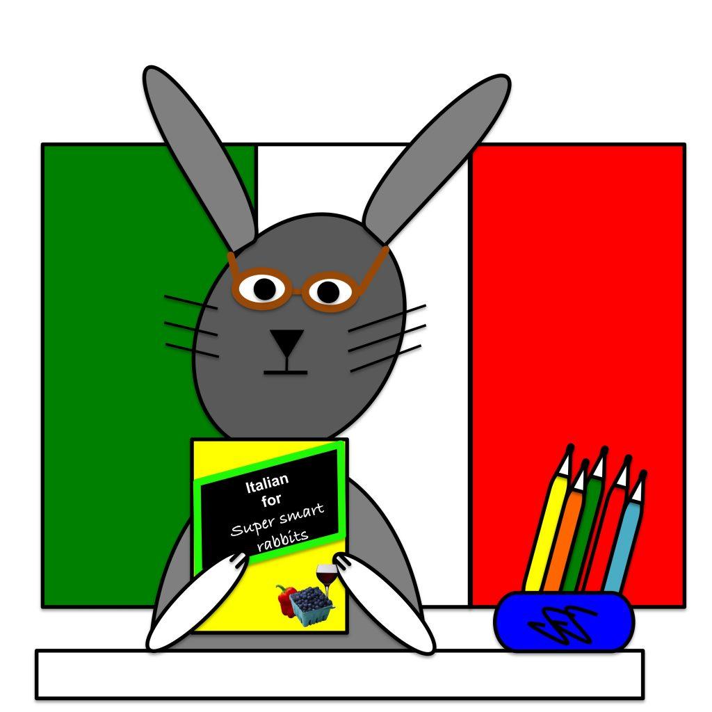 Cartoon rabbit studying Italian