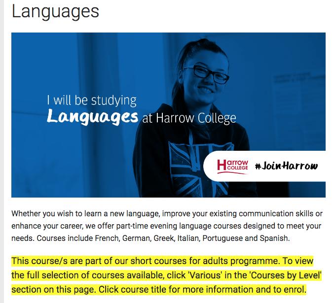 Harrow College website screenshot